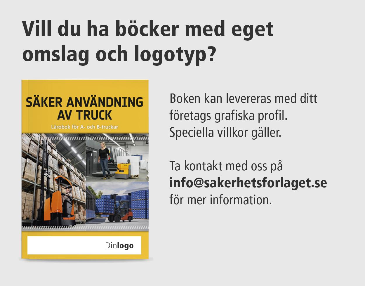 Truckbok med eget omslag og logotyp